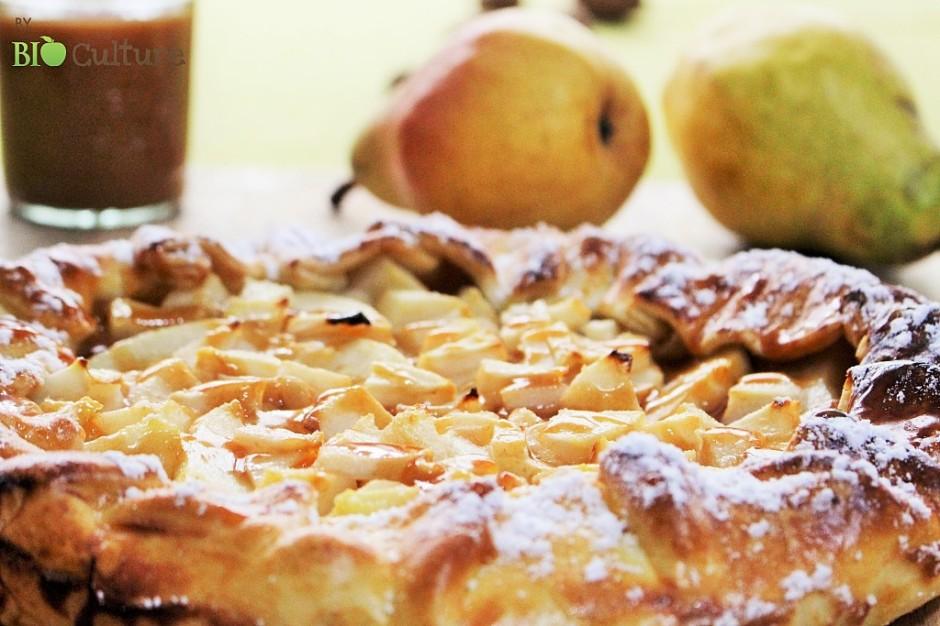 Tarte Rustique aux Poires et son caramel au beurre salé par Bio Culture