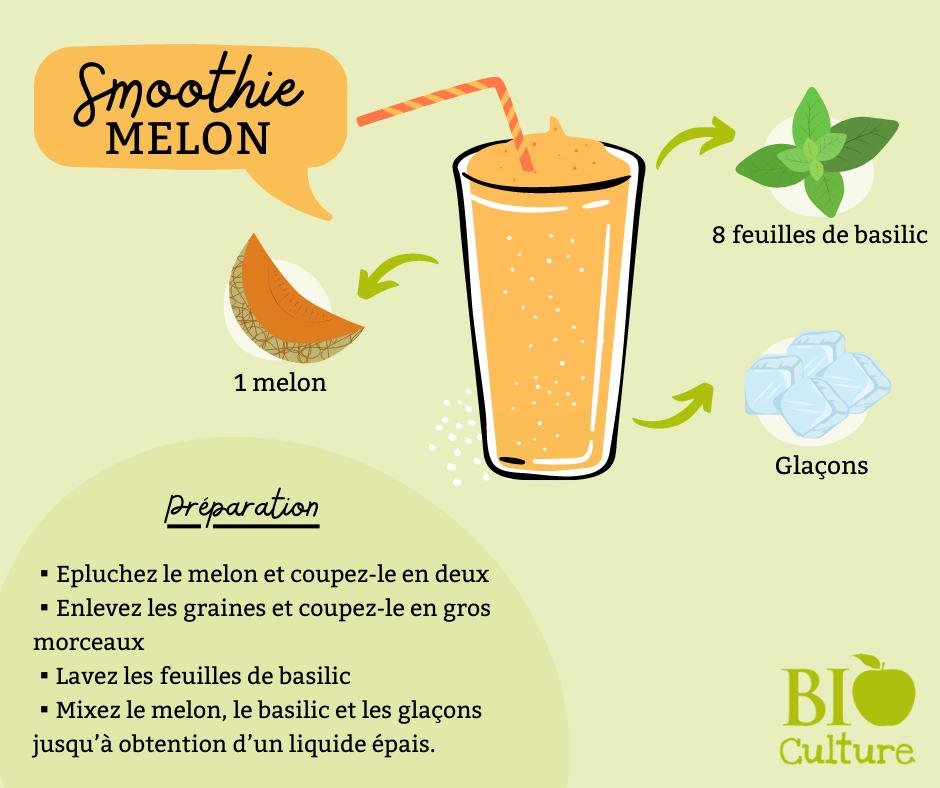 Illustration recette smoothie melon et basilic Bio Culture